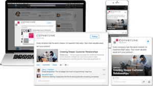 Voorbeeld van de sponsored content op LinkedIn van Conversive Online Marketing